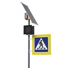 Автономный односторонний светофор Т.7.1 в комплекте с двусторонним знаком с внутренней подсветкой