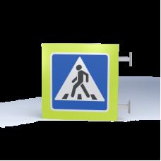 Двусторонний знак Пешеходный переход 220В/30Вт с внутренней подсветкой